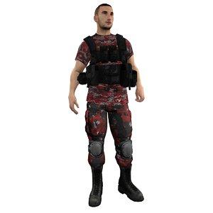 mercenary rigged soldier 3d max