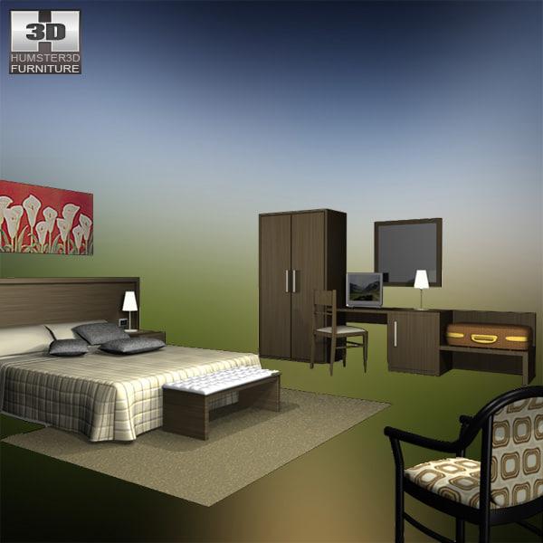hotel room set 02 3d 3ds