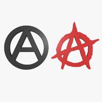 3d anarchy symbol
