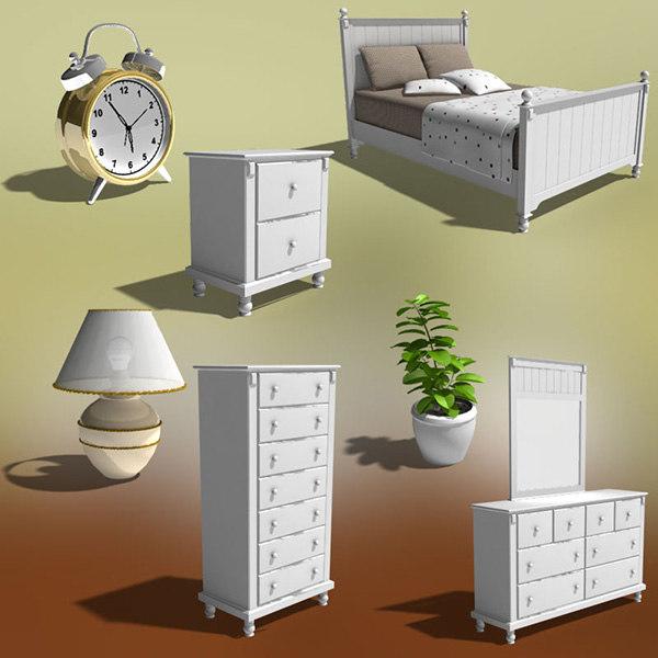 bedroom furniture 06 set 3d 3ds