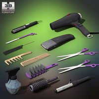 3d barbershop set model