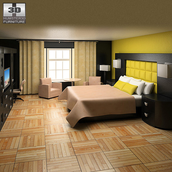 bedroom furniture 07 set 3d obj