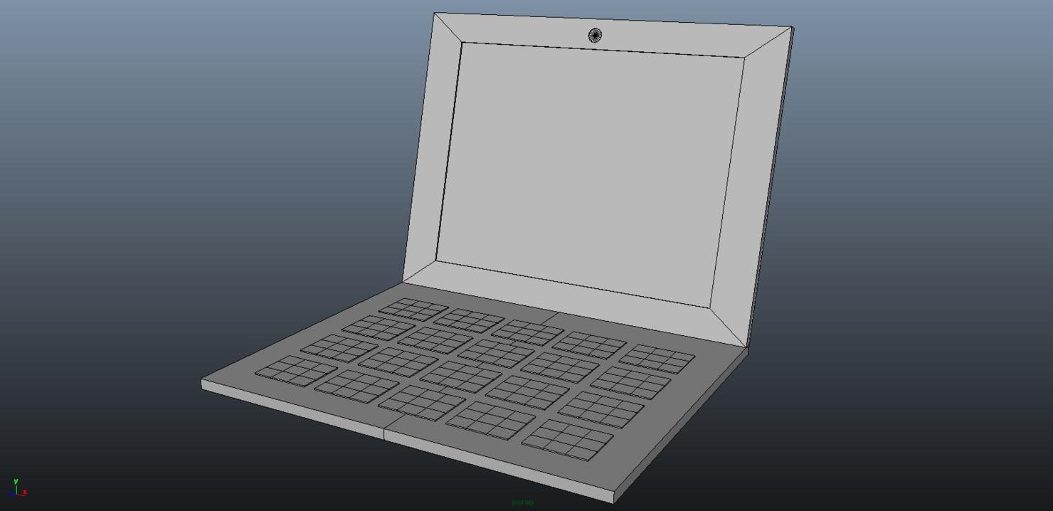 stylized laptop computer 3d model