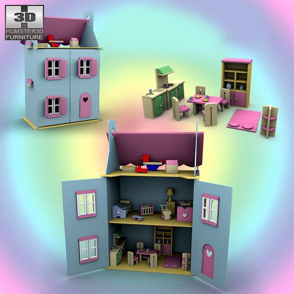 3d doll house set 01