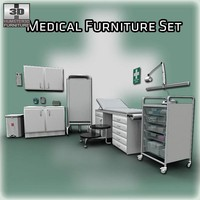 3d model medical furniture set doctor s