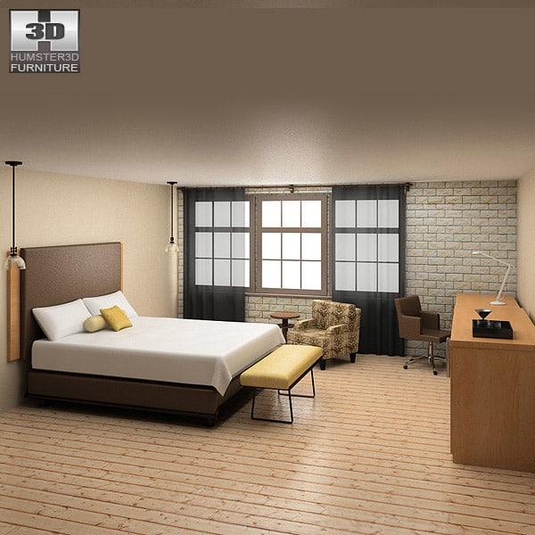 3d model bedroom furniture 09 set