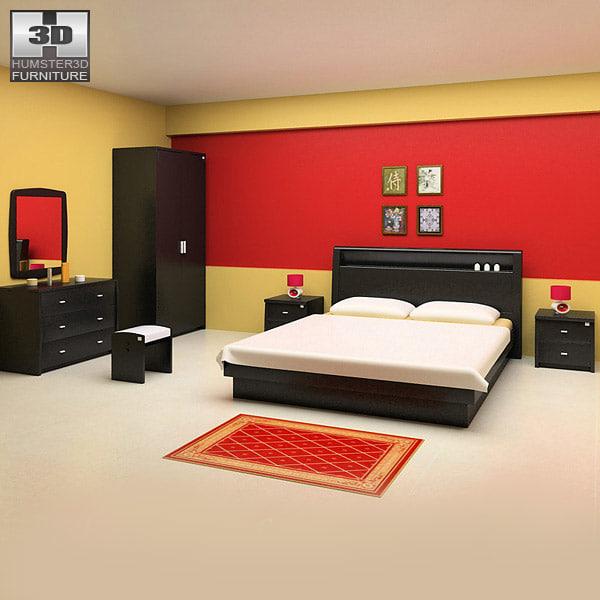 bedroom furniture 12 set 3d model