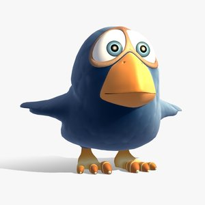 rigged cartoon birdie 3d max