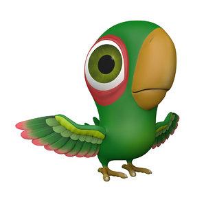 3d model of bird green