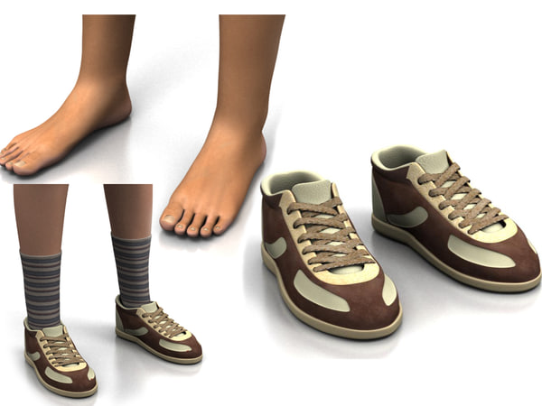 3ds max foot shoe