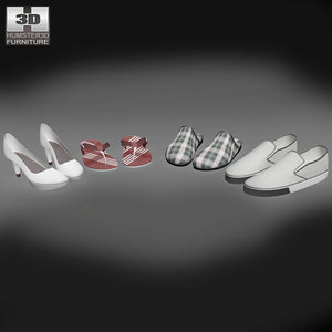 set summer shoes moccasins 3d model