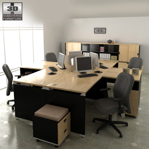 3d model office set p06 desk