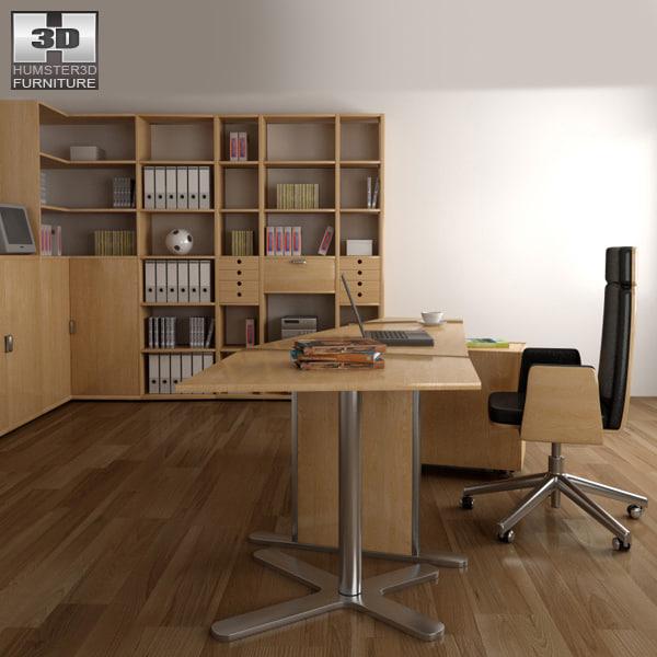 office set p11 chair table 3d model