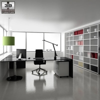 office set p10 table chair 3d model