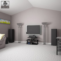 3d home theatre set 3 model