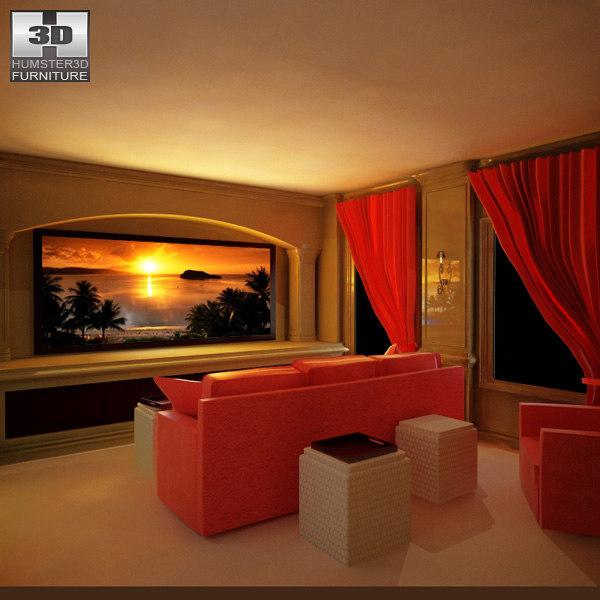 3d model of home theatre set 4