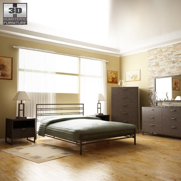 3d model sonya bedroom metal bed