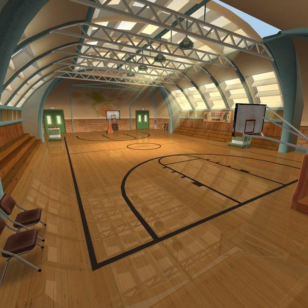 3dsmax recreation center basketball court