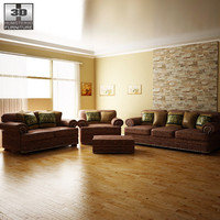 3d ashley livingroom ralston sofa furniture model