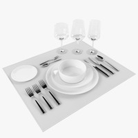 3d model tableware set forks knifes