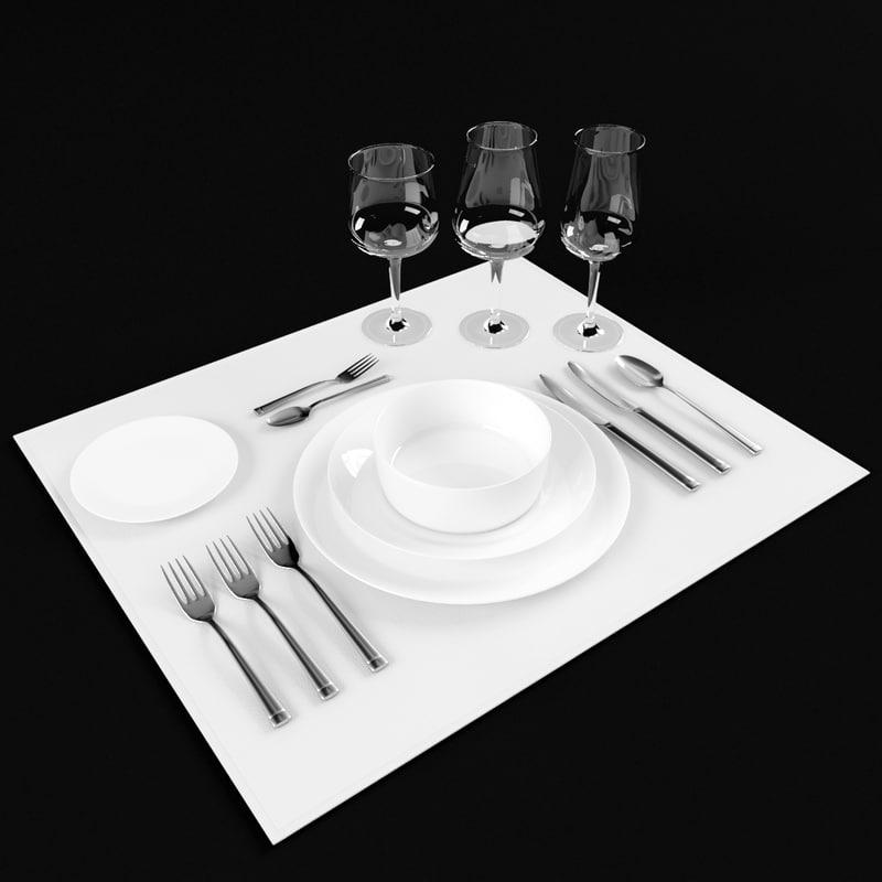 3d model tableware set forks knifes