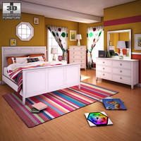 3d ashley caspian panel bedroom