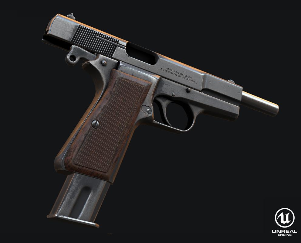 3d model browning pistol