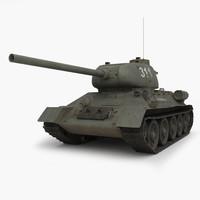 3d model t 34 85 tank