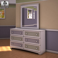 Ashley Sandhill Dresser & Mirror