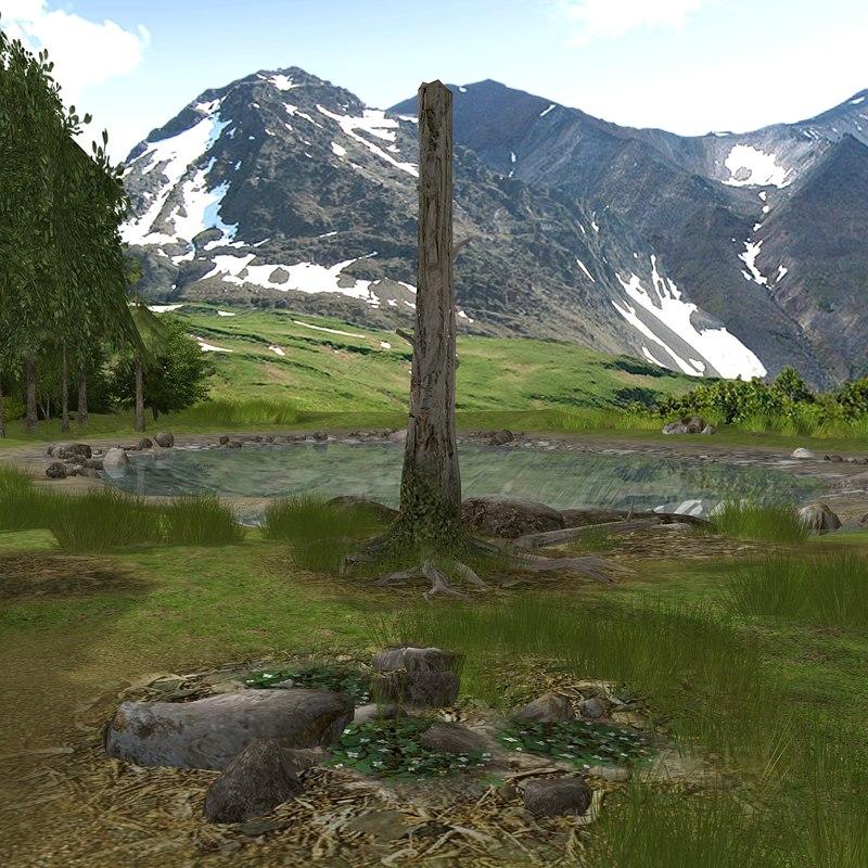 3d mountain alaskan summer trees