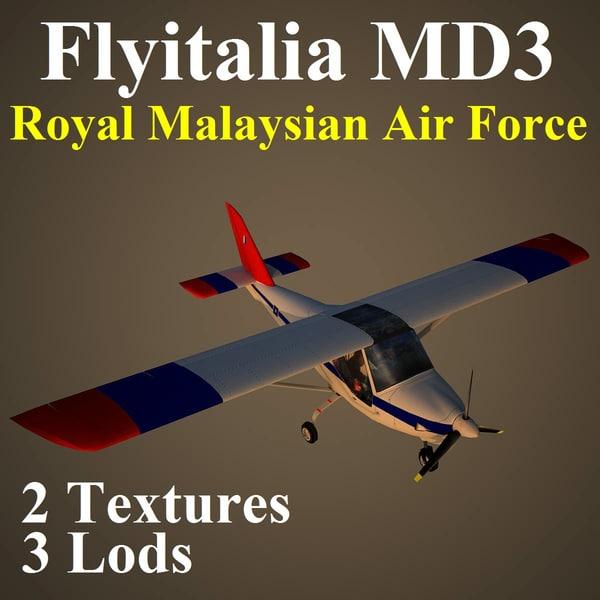 3d model of flyitalia md3 rmf aircraft