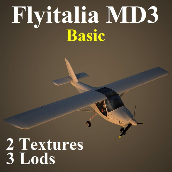 3d model flyitalia md3 basic aircraft