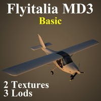 3d model flyitalia md3 basic aircraft