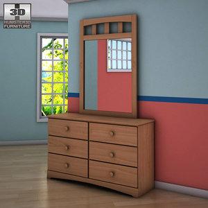 3d ashley benjamin dresser mirror