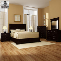 3d model bedroom 14 set bed