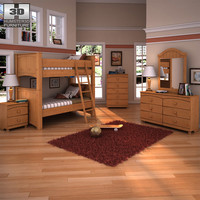 3d ashley stages bunk bedroom model