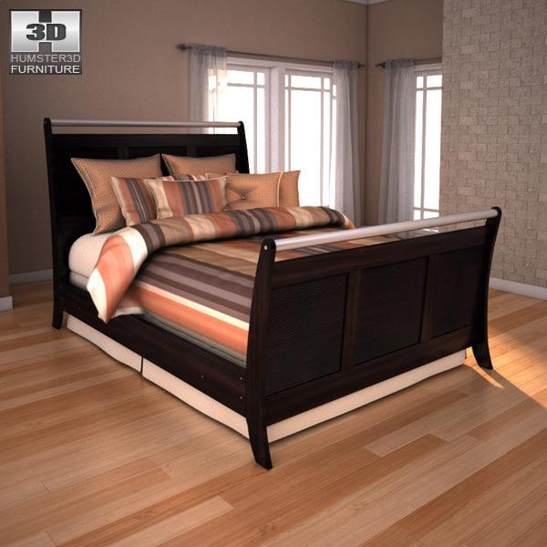 3d model ashley pinella queen sleigh bed