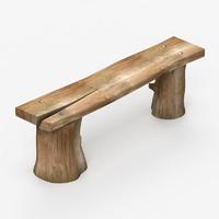 3ds max bench rustic garden