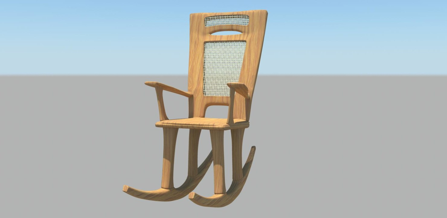 wood rocking chair 3d ma