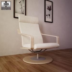 3d model ikea poang swivel armchair