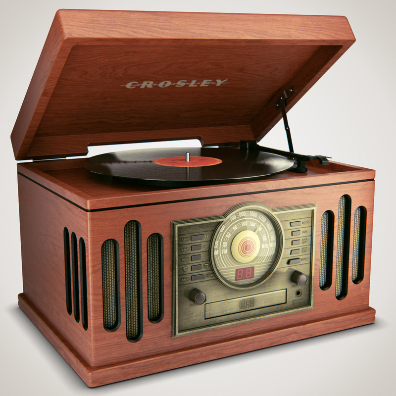 3d vintage record player model