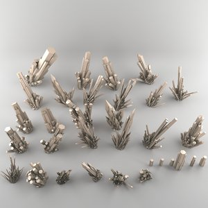 3d model crystal mineral
