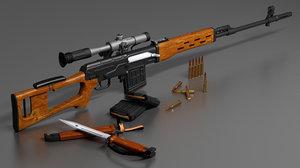 3d hight sniper rifle svd dragunov model