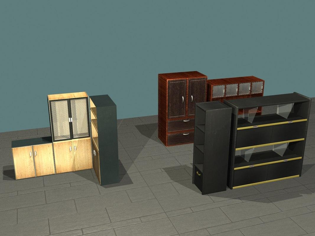 3d model office shelves