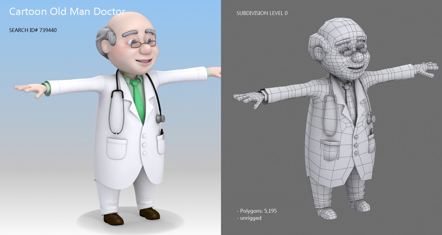 old man doctor cartoon 3d model