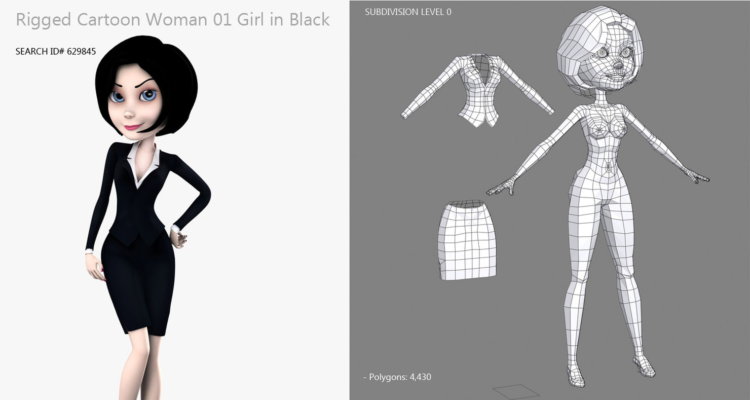 cartoon woman with black clothes rigged 3d model
