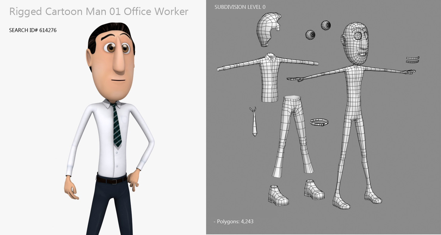 cartoon office worker 3d model rigged