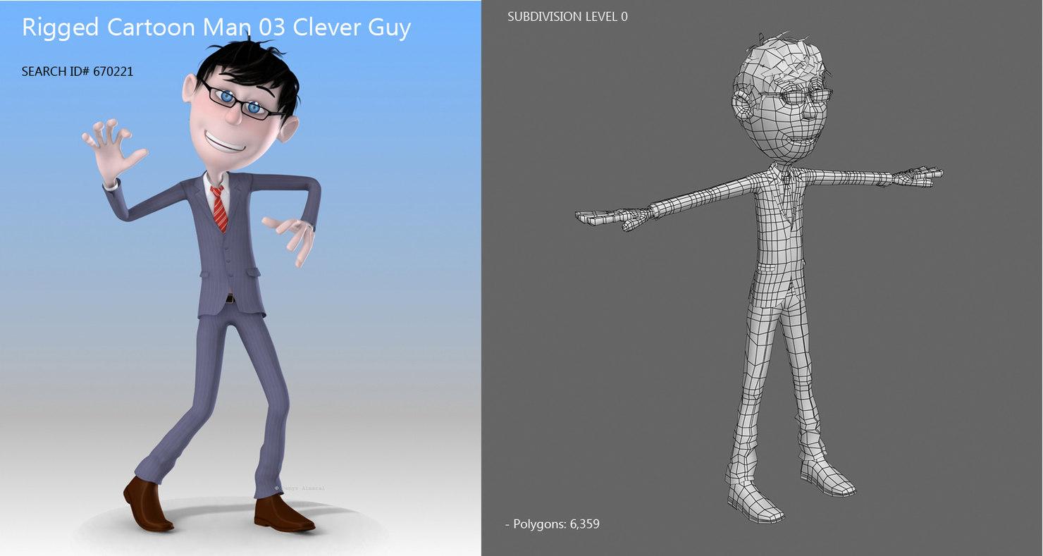 cartoon guy 3d model rigged