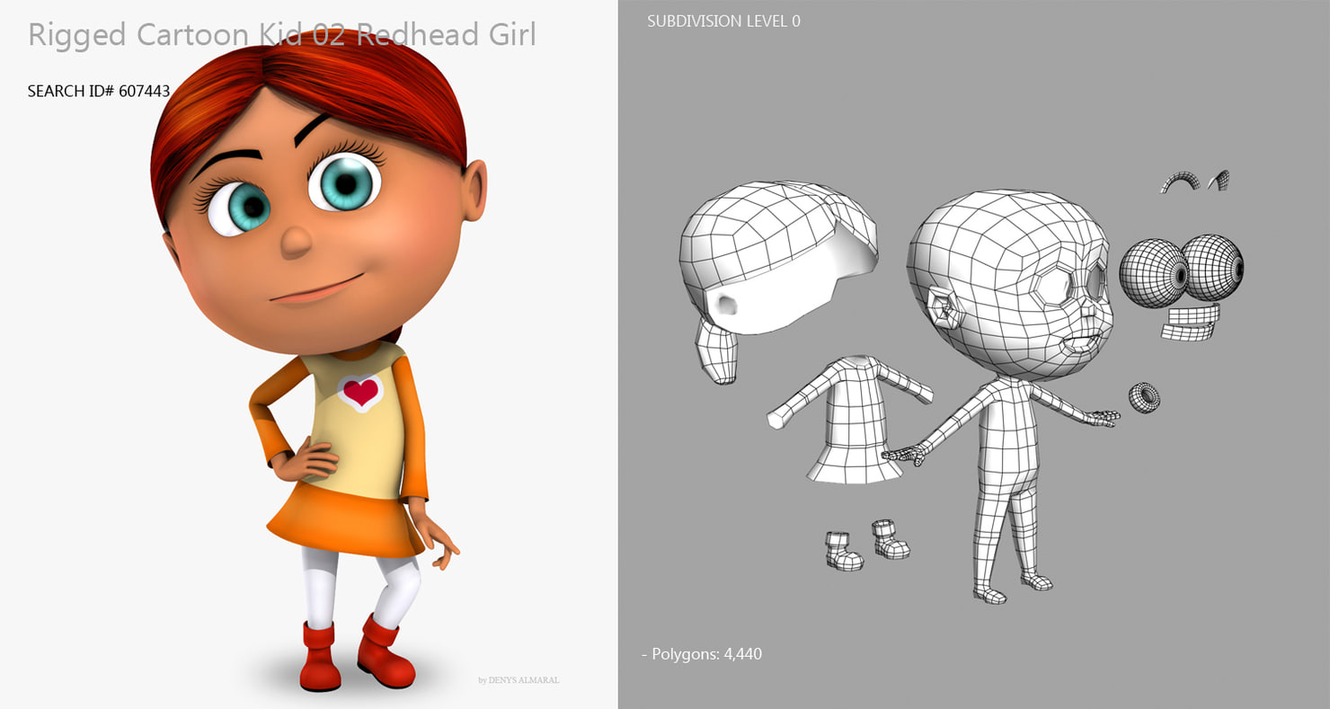 cartoon redhead girl 3d model rigged