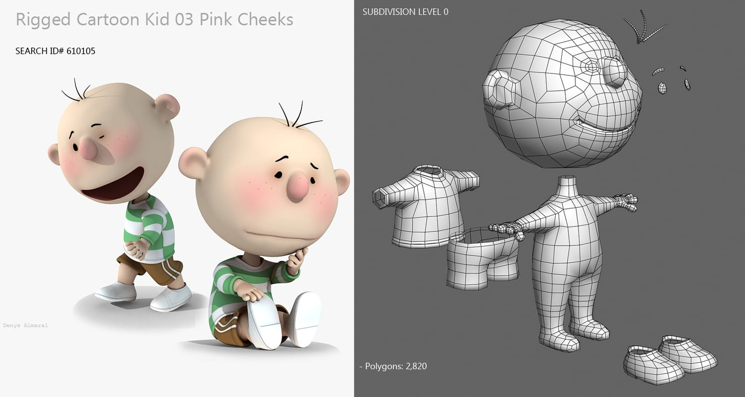 cartoon child 3d model rigged